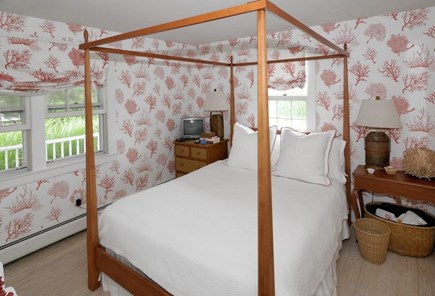 Siasconset Nantucket vacation rental - 2nd Bedroom w/ Queen Antique Four Post Pine Bed - Tasteful Coral