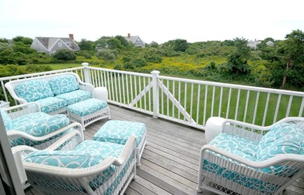 Siasconset Nantucket vacation rental - Expansive upper deck with distant water views