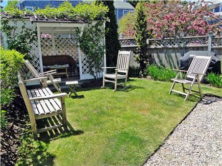 Nantucket town Nantucket vacation rental - Grassy side yard has covered gazebo with comfortable seating & ga