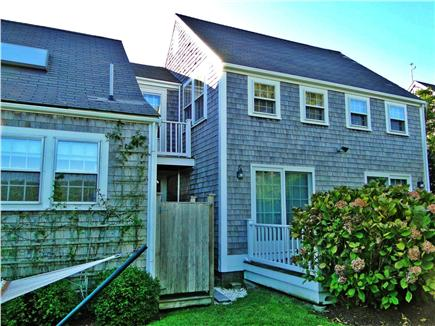 Brant Point Nantucket vacation rental - Side yard with hydrangeas, hammock, outdoor shower