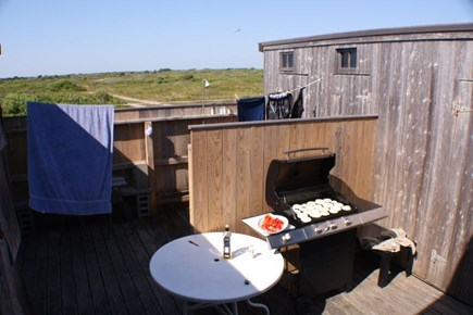 Madequecham Nantucket vacation rental - Private courtyard with outdoor shower and grill.