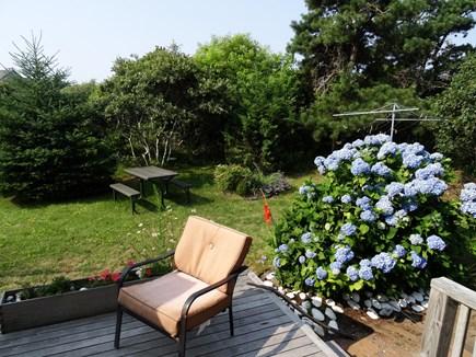 Surfside Nantucket Nantucket vacation rental - Back deck, picnic table, hydrangea