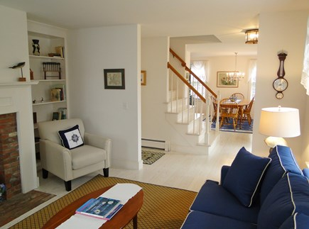 Mid-island, Naushop Nantucket vacation rental - View of living room with fireplace towards dining