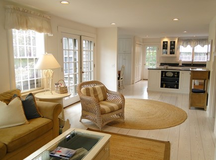Mid-island, Naushop Nantucket vacation rental - Family room showing french doors to back patio