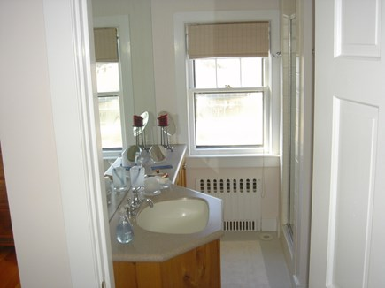 Madaket Nantucket vacation rental - A peak inside the master bath/ shower and toilet to the right